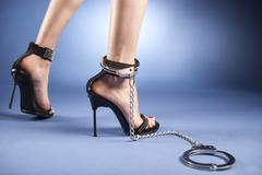 High heels and ankle cuffs - stock photo