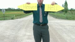 Heaven and Hell Intersection Stock Footage