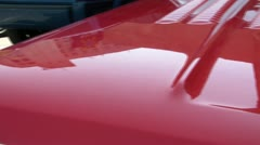 Hood Pan of Classic Red Car - stock footage