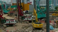 Construction site with excavator  in Singapore Stock Footage