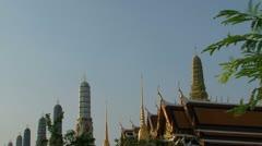 Bangkok Grand palace roof temples Stock Footage