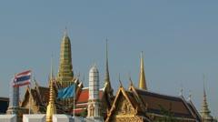 Thai flag at the Bangkok Grand palace Stock Footage
