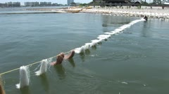 BP Oil Spill collection booms - stock footage