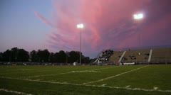 Football Stadium With Pan Pink Sky Stock Footage