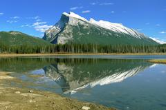Panoramic view on canadian rockies mountains Stock Photos