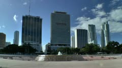 Miami downtown skyline seen from bayfront park in morning Stock Footage
