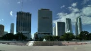 Stock Video Footage of Miami downtown skyline seen from bayfront park in morning