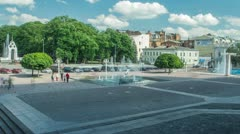 Timelapse of the city square in motion Stock Footage