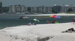 BP Oil Spill containment booms in the water - stock footage