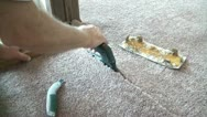 Hot Glue Ironing Carpet Seams Stock Footage