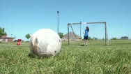 Kicking Soccer Goals Stock Footage