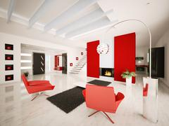 modern apartment interior 3d render - stock illustration