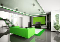 Modern interior of living room 3d Stock Illustration