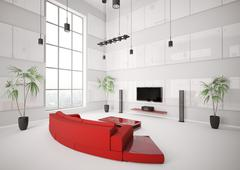 White living room with red sofa interior 3d Stock Illustration