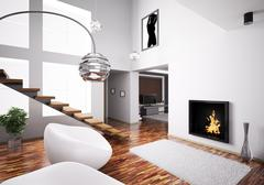 interior with fireplace and staircase 3d - stock illustration