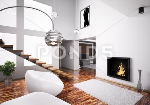 Stock Illustration of interior with fireplace and staircase 3d