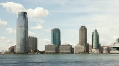 Jersey City Skyline and Hudson River Timelapse 3 Stock Footage