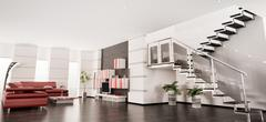 Modern apartment interior panorama 3d render Stock Illustration