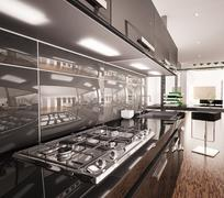 Stock Illustration of interior of modern black kitchen 3d render
