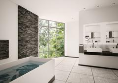 modern bathroom interior 3d render - stock illustration