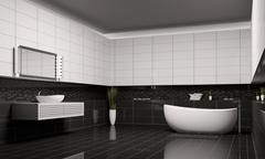 bathroom interior 3d - stock illustration