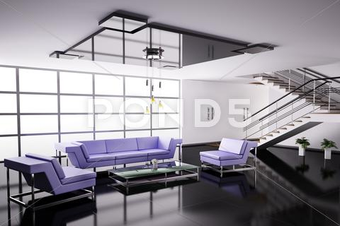 Stock Illustration of interior of hall 3d