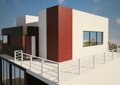 modern private house exterior 3d - stock illustration