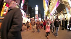 New York City Times square fish eye Stock Footage