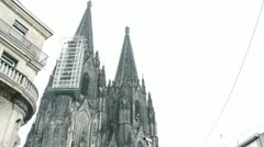 Cologne Cathedral with busy street below Stock Footage