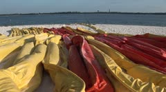BP Oil Spill containment booms - stock footage