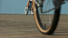 Bikes on Boardwalk Close-up Stock Footage