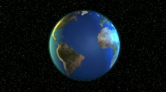 Earth /Globe / World Rotation - Zoom In Brazil - stock footage