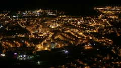 Stock Video Footage of Lisbon aerial night city view - residential area