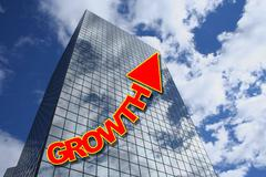 growth text with skyscraper - stock illustration