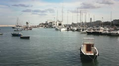 Fishing boats moored in the harbor of Bari, Italy Stock Footage