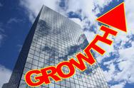 Growth text with skyscraper Stock Illustration