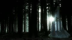 Horror scene of a woman's ghost in the forest - stock footage