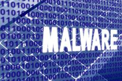 malware text over binary code - stock illustration