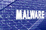 Stock Illustration of malware text over binary code