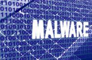Malware text over binary code Stock Illustration