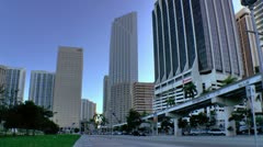 Miami downtown skyline seen along Biscayne Blvd in early morning Stock Footage