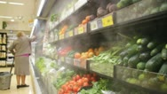 Food store fridge with vegetables Stock Footage