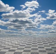 Blue sky and gray ground perspective view.. Stock Photos