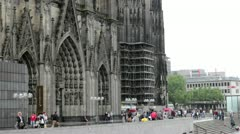 Entrance to the Cologne Cathedral in Germany Stock Footage