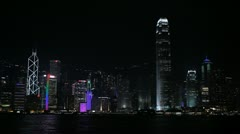 Hong Kong Island Skyline by night, Victoria Harbour, Kowloon, Ship, time lapse Stock Footage