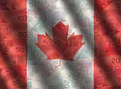 Kanada käteisellä lipun tausta Piirros