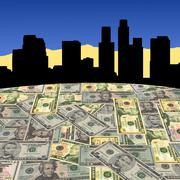 Los angeles skyline with dollars Stock Illustration
