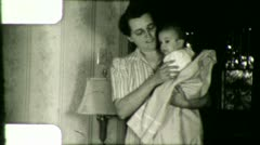 MOTHER and BABY Infant Child Newborn 1940s Vintage Film Retro Home Movie 5900 - stock footage