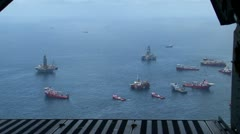 BP Oil Spill pollution ground zero oil rigs  Stock Footage