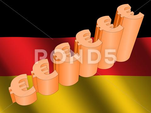 Stock Illustration of euro graph on german flag